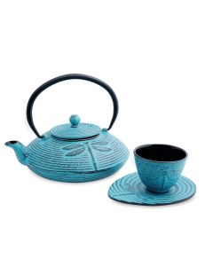 "Gietijzeren theeset turquoise ""Dragonfly"""