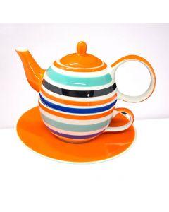"Tea for One theeset ""oranje gestreept"""