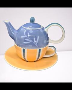"""Tea for One theeset """"blauw-oranje"""""""