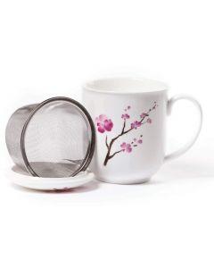 Mok met zeef en deksel Cherry Blossom