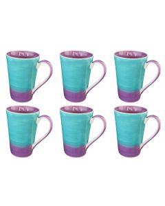 Mokkenset paars/turquoise (6 stuks)